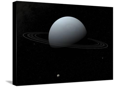 Artist's Concept of How Uranus and its Tiny Moon Puck-Stocktrek Images-Stretched Canvas Print