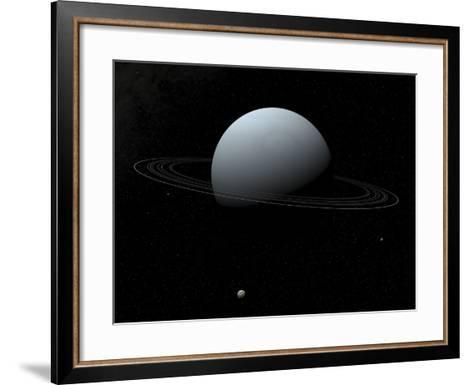 Artist's Concept of How Uranus and its Tiny Moon Puck-Stocktrek Images-Framed Art Print