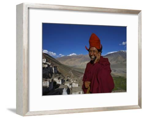 The Head Abbot Holds a Cell Phone at the Karsha Monastery-Steve Winter-Framed Art Print