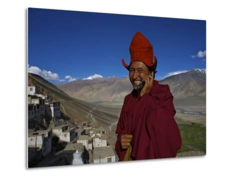 The Head Abbot Holds a Cell Phone at the Karsha Monastery-Steve Winter-Metal Print