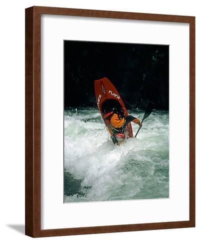 A Kayaker Paddles in Waves on the Kananskis River, Near Calgary-Gordon Wiltsie-Framed Art Print