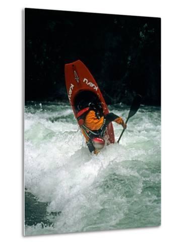 A Kayaker Paddles in Waves on the Kananskis River, Near Calgary-Gordon Wiltsie-Metal Print