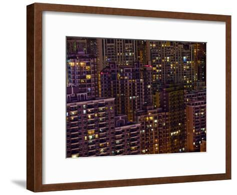 Tightly Packed Apartment Buildings in Shanghai--Framed Art Print