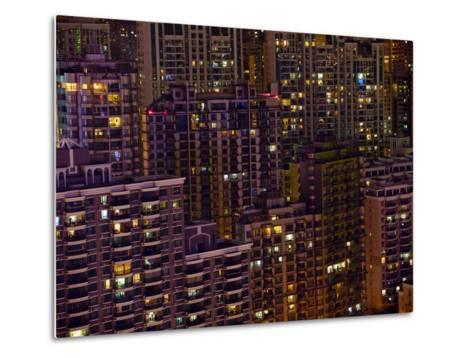 Tightly Packed Apartment Buildings in Shanghai--Metal Print