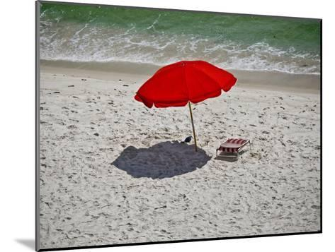 A Red Umbrella on the Beach at Gulf Shores, Alabama-National Geographic Photographer-Mounted Photographic Print