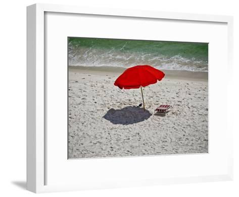 A Red Umbrella on the Beach at Gulf Shores, Alabama-National Geographic Photographer-Framed Art Print