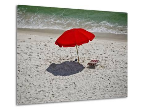 A Red Umbrella on the Beach at Gulf Shores, Alabama-National Geographic Photographer-Metal Print