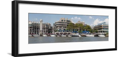 Georgetown Waterfront with Restaurants and Boats Along Potomac River-Greg-Framed Art Print