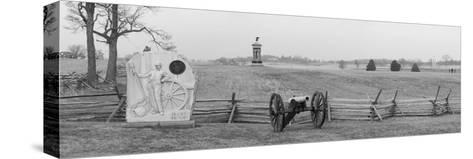 Cannons and Fence at Gettysburg Battlefield-Greg-Stretched Canvas Print