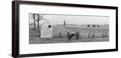 Cannons and Fence at Gettysburg Battlefield-Greg-Framed Art Print