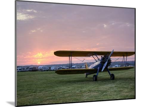 A Stearman Biplane on a Grass Airfield at Dawn-Pete Ryan-Mounted Photographic Print