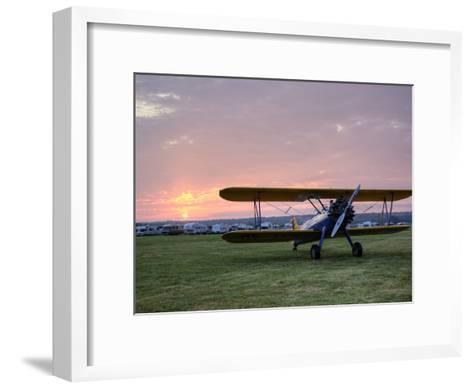 A Stearman Biplane on a Grass Airfield at Dawn-Pete Ryan-Framed Art Print