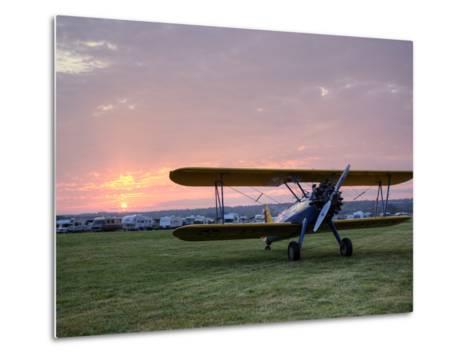 A Stearman Biplane on a Grass Airfield at Dawn-Pete Ryan-Metal Print