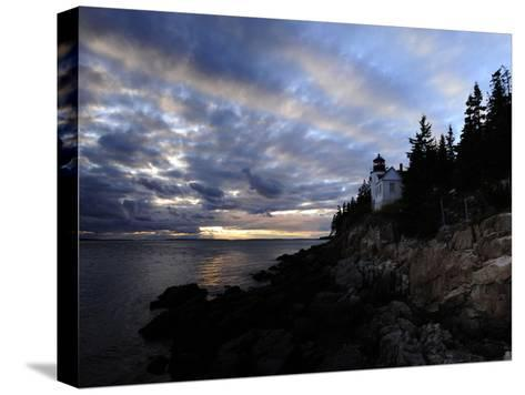A Moody Sky over Bass Harbor Head Lighthouse at Sunset-Raul Touzon-Stretched Canvas Print