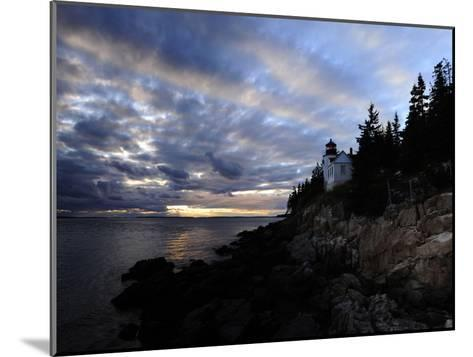 A Moody Sky over Bass Harbor Head Lighthouse at Sunset-Raul Touzon-Mounted Photographic Print