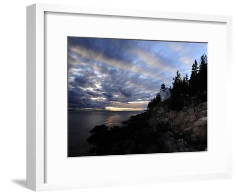 A Moody Sky over Bass Harbor Head Lighthouse at Sunset-Raul Touzon-Framed Art Print