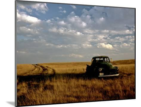 A Landscape of an Old Farm Truck in a Field at Sunset-Kenneth Ginn-Mounted Photographic Print