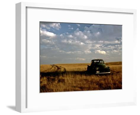 A Landscape of an Old Farm Truck in a Field at Sunset-Kenneth Ginn-Framed Art Print
