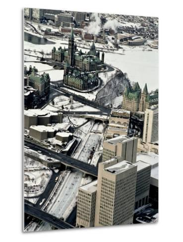 An Aerial View of Central Ottawa Including Parliament Hill and Canal-Kenneth Ginn-Metal Print