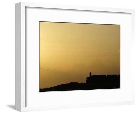 Morro Fortress Silhouetted Against a Sunset Sky-Raul Touzon-Framed Art Print