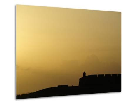 Morro Fortress Silhouetted Against a Sunset Sky-Raul Touzon-Metal Print