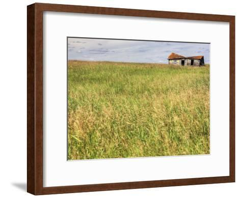 A Log Cabin Collapses into the Prairie Landscape-Pete Ryan-Framed Art Print