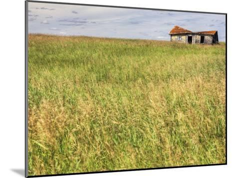 A Log Cabin Collapses into the Prairie Landscape-Pete Ryan-Mounted Photographic Print