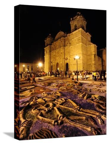 Sand Sculptures in Front of the Cathedral on the Day of the Dead-Raul Touzon-Stretched Canvas Print
