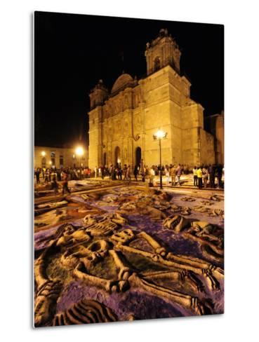 Sand Sculptures in Front of the Cathedral on the Day of the Dead-Raul Touzon-Metal Print
