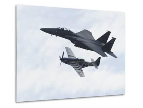 An F-15 Eagle and the P-51 Mustang Fly in Formation-Raul Touzon-Metal Print