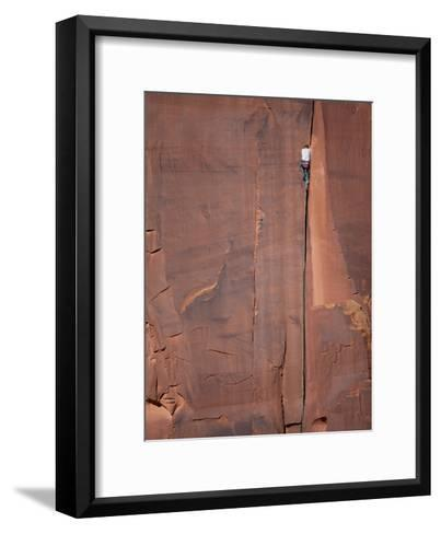 A Climber Ascends One of Indian Creeks Many Perfect Hand Cracks-Ben Horton-Framed Art Print