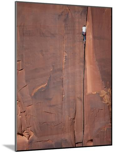 A Climber Ascends One of Indian Creeks Many Perfect Hand Cracks-Ben Horton-Mounted Photographic Print