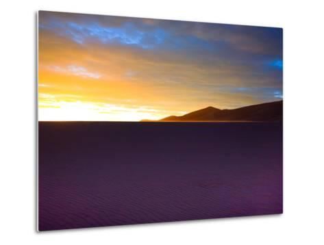 The Sunset Lights Up Sand Blowing across the Colorado Dunes-Ben Horton-Metal Print