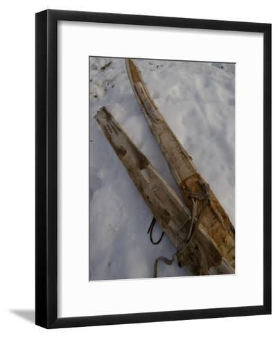 A Handmade Pair Skis with Reindeer Skins on the Bottom-Gordon Wiltsie-Framed Art Print