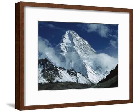 The North Face of K2 from K2 Glacier, 2nd Highest Peak in the World, Karakoram, Xinjiang, China-Colin Monteath/Minden Pictures-Framed Art Print