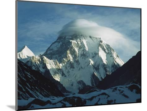 Wind Cloud over the Summit of K2, 2nd Highest Peak in the World, Karakoram Mountains, Pakistan-Colin Monteath/Minden Pictures-Mounted Photographic Print