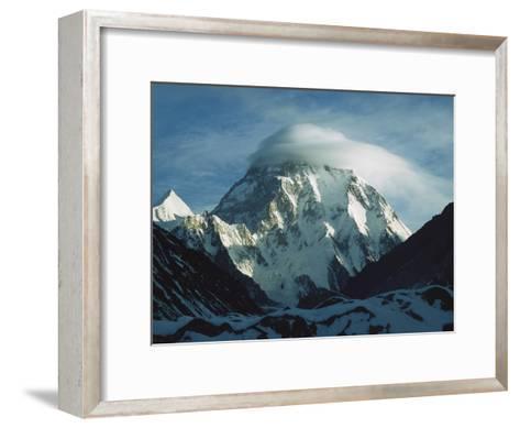 Wind Cloud over the Summit of K2, 2nd Highest Peak in the World, Karakoram Mountains, Pakistan-Colin Monteath/Minden Pictures-Framed Art Print