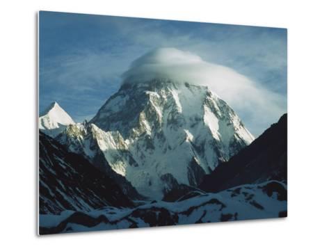 Wind Cloud over the Summit of K2, 2nd Highest Peak in the World, Karakoram Mountains, Pakistan-Colin Monteath/Minden Pictures-Metal Print