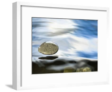 Skipping Stone Just About to Hit the Water's Surface-Michael Durham/Minden Pictures-Framed Art Print