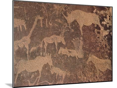 Petroglyphs of Animals Hunted by Bushmen, Twyfelfontein, Namibia-Michael and Patricia Fogden/Minden Pictures-Mounted Photographic Print