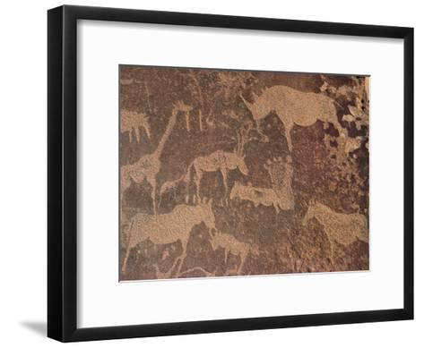 Petroglyphs of Animals Hunted by Bushmen, Twyfelfontein, Namibia-Michael and Patricia Fogden/Minden Pictures-Framed Art Print
