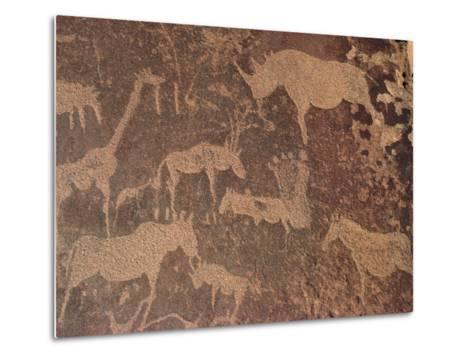 Petroglyphs of Animals Hunted by Bushmen, Twyfelfontein, Namibia-Michael and Patricia Fogden/Minden Pictures-Metal Print