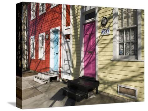 Colorful Houses on South Ann Street in the Fell's Point Neighborhood-Krista Rossow-Stretched Canvas Print