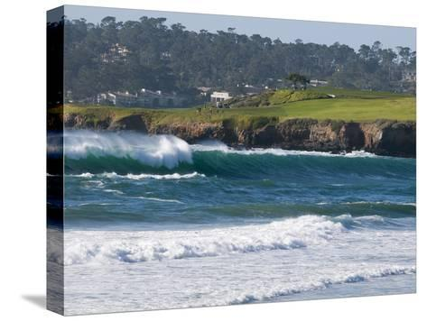 Pebble Beach Golf Course and Large Waves at Carmel Beach City Park-Rich Reid-Stretched Canvas Print
