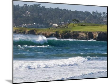 Pebble Beach Golf Course and Large Waves at Carmel Beach City Park-Rich Reid-Mounted Photographic Print