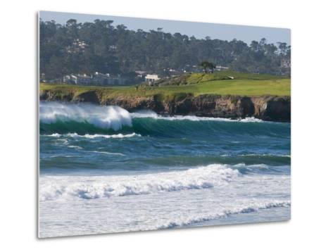 Pebble Beach Golf Course and Large Waves at Carmel Beach City Park-Rich Reid-Metal Print