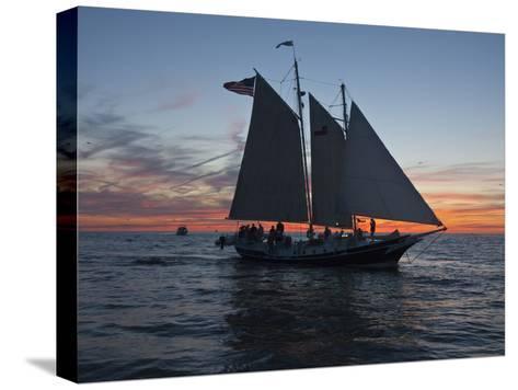 A Sailboat Off Grand Haven Pier on Lake Michigan at Twilight-Karen Kasmauski-Stretched Canvas Print
