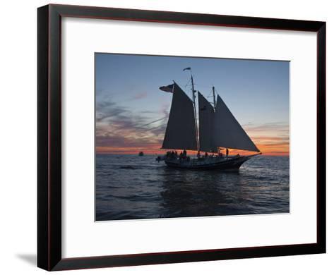 A Sailboat Off Grand Haven Pier on Lake Michigan at Twilight-Karen Kasmauski-Framed Art Print