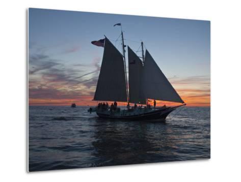 A Sailboat Off Grand Haven Pier on Lake Michigan at Twilight-Karen Kasmauski-Metal Print