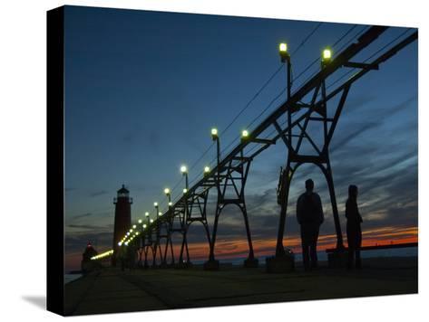 Grand Haven Pier on Lake Michigan at Twilight-Karen Kasmauski-Stretched Canvas Print